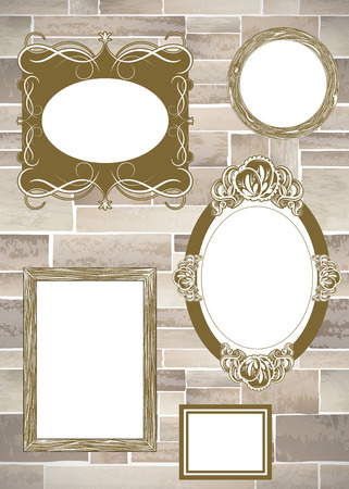 picture framing: Stone wall frames full vector texture background