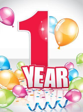 1 year birthday card full vector elements Illustration