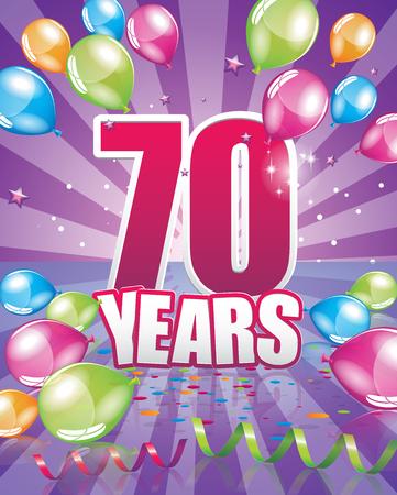 70 years birthday card full vector elements Illustration