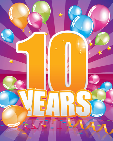 10 years birthday card full vector elements