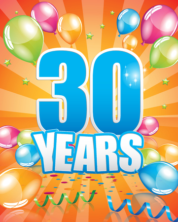30 years birthday card full vector elements Illustration