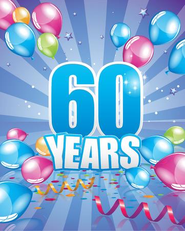 60 años de tarjeta de cumpleaños elementos vectoriales completa