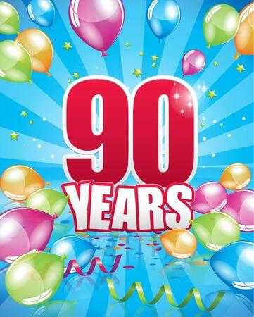 90 years birthday card full vector elements