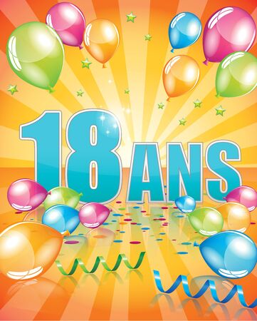 happy birthday 18: French birthday card 18 years full vector elements