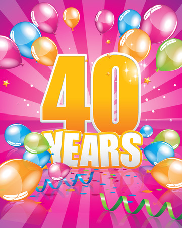 40 years birthday card full vector elements Illustration