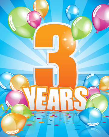 3 years birthday card full vector elements