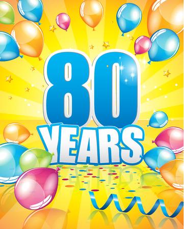 80 years birthday card full vector elements