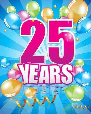 25 years birthday card full vector elements Illustration