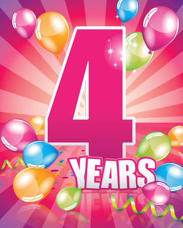 4 years birthday card full vector elements