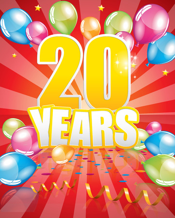 20 years birthday card full vector elements