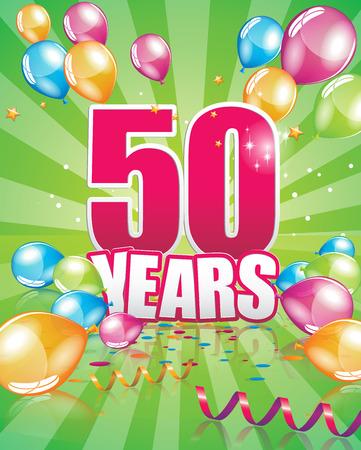 50 years birthday card full vector elements