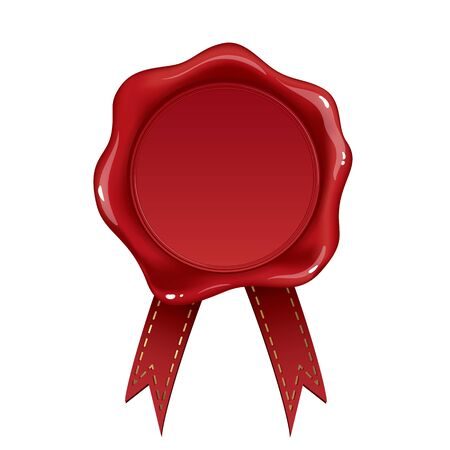 stamped: Red wax seal isolated on white background Illustration