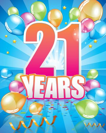 21 years birthday card full vector elements