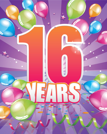 event party festive: 16 years birthday card full vector elements