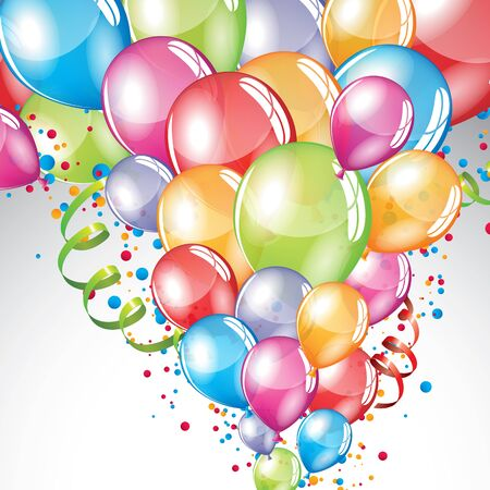 Vector festive Balloons background and colorful confetti Vectores