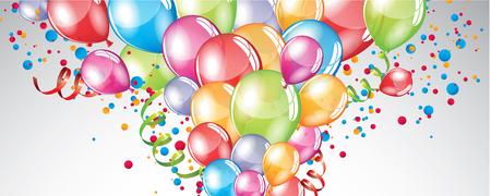 Vecteur de fête Ballons fond et de confettis colorés