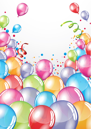 customizable: Vector festive Balloons card and colorful confetti