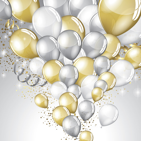 Silver and gold balloons and glitter festive background