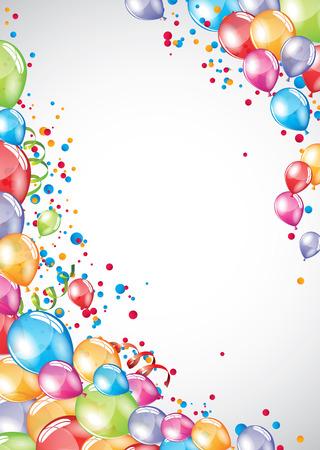 Vector festivo Globos tarjeta y colorido confeti