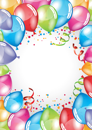 Vector festive Balloons card and colorful confetti