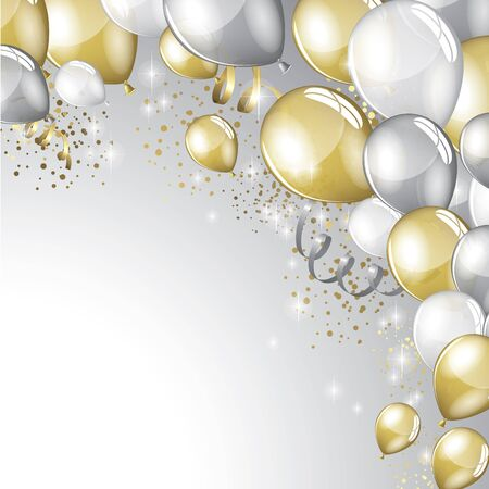 festive background: Silver and gold balloons and glitter festive background