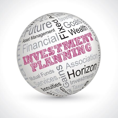 investment planning vector theme sphere with keywords