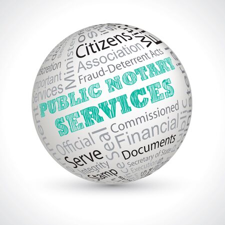 notary: public notary services vector theme sphere with keywords