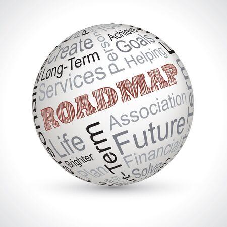 keywords: roadmap vector theme sphere with keywords