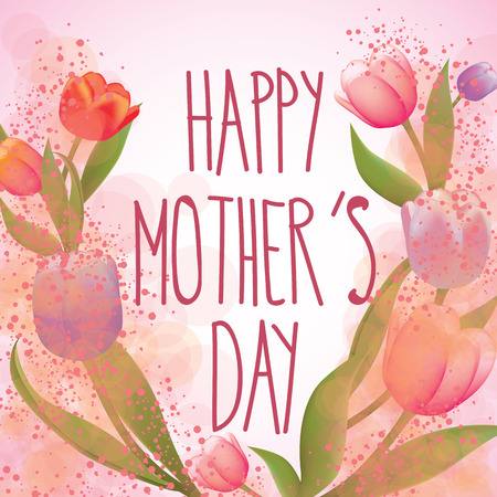mothers day card: Happy Mothers day card full vector elements