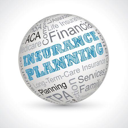 keywords: Insurance Planning vector theme sphere with keywords