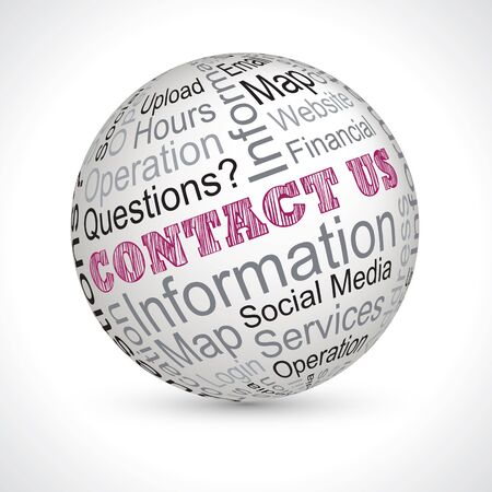 keywords: contact us vector theme sphere with keywords