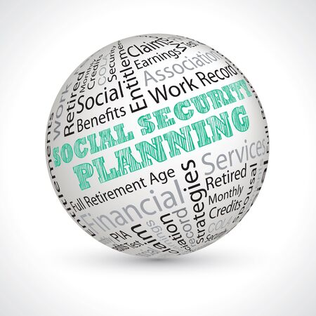 keywords: social security planning vector theme sphere with keywords