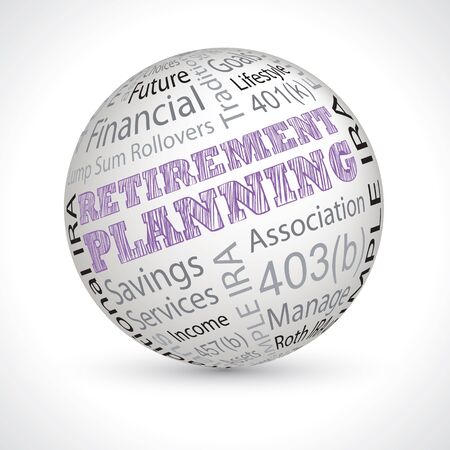 planification de la retraite vecteur thème sphère avec des mots-clés Vecteurs