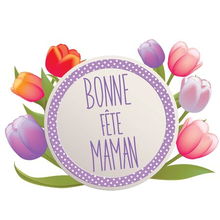 mothers day card: French Happy Mothers day card full vector elements Illustration