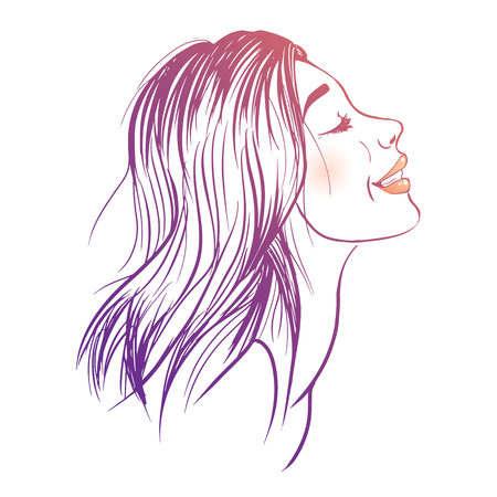 isolate: Vector illustration of a young smiling woman Illustration