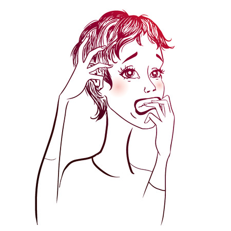 adult oops: Vector illustration of a young stressed woman Illustration