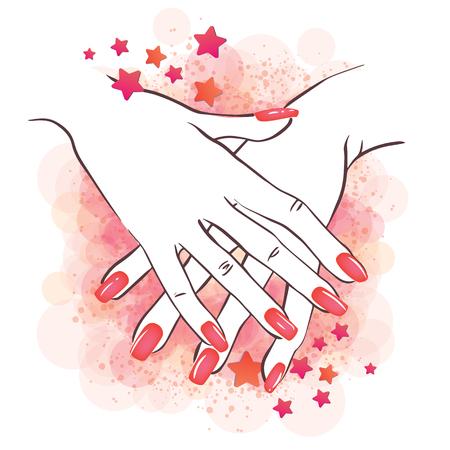 beautician: Vector illustration of hands with nailpolish