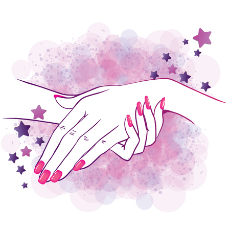 Vector illustration of hands with nailpolish