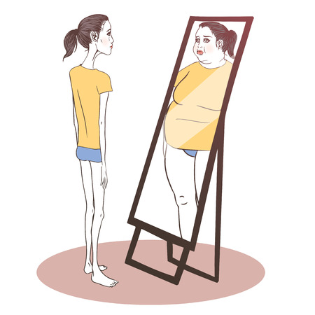 Young woman suffering from anorexia looking in the mirror Ilustração