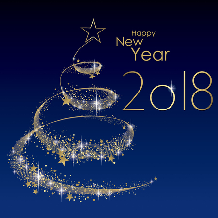 Happy New year 2018 greeting card vector Illustration