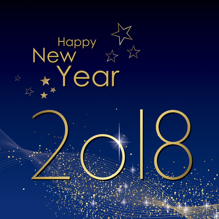 Happy New year 2018 greeting card vector Ilustrace