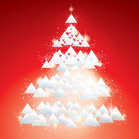 White glitter Christmas Tree vector greeting card Illustration