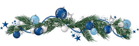 Christmas garland and glitter full vector banner