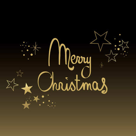 Black and Gold Merry Christmas with Glitter Illustration