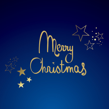 Blue and Gold Merry Christmas with Glitter