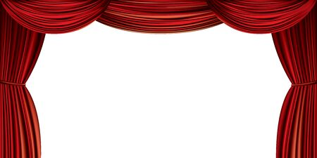 Large red curtain isolated on a white background