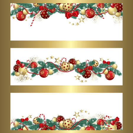 three wishes: Christmas garland and glitter full vector banners Illustration
