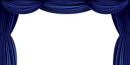 Large blue curtain isolated on a white background