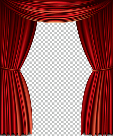 Red curtain full vector isolated on a transparent background
