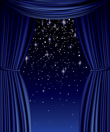 Blue curtain full vector with stars and glitter